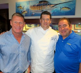 Emeril with Tradewinds Island Resorts President/COO Keith Overton and Guy Harvey Rumfish Grille Executive Chef Justin Harry