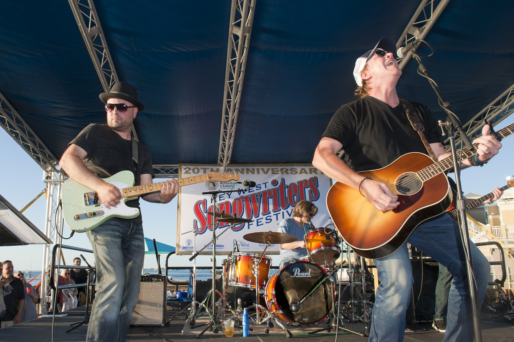 Guthrie Trapp and Jack Ingram perform at the Ocean Key Sunset Pier Kick Off Party presented by SunTrust Bank during the Key West Songwriter's Festival on May 6, 2015, in Key West, FL. (Erika Goldring Photo)
