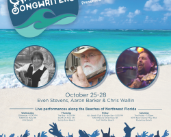Nashville Songwriters Florida Sunshine Tour flyer, October 25-28 with Even Stevens Aaron Barker and Chris Wallin images, Live performances along the Beaches of Northwest Florida, and beach scene.