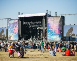 Runaway Country Music Fest, advanced stage setup with dual screens in field