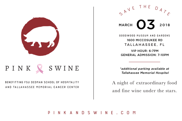 pink & swine save the date, march 3 2018 goodwood museum & gardens, 7-10 pm